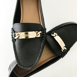 Coach Black Leather Olive Loafers